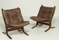 Vintage Danish Mid Century Leather Seista Chairs By Ingmar Relling 2