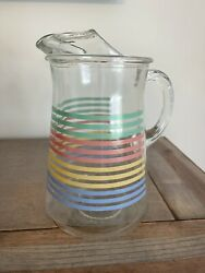 """Vintage Multicolor Pastel Striped Glass Juice Pitcher W/ Ice Lip 9 1/2"""" Tall"""