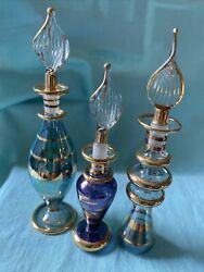 """Set Of 3 Vintage Glass Egyptian Perfume Bottle With Stopper, Collectible 4""""lot1"""