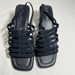 Blue Strappy Sandles Womens 7.5 Wide 2.5 Heels Fioni
