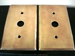 2 Antique Brass Push-button Switch Plate Covers 2-hole Vtg Light Switch Hardware