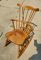 Antique S. Bent And Bros. Maple Windsor Rocker Rocking Chair