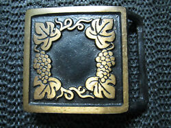 Hippie Grapevine Brass Belt Buckle Vintage Very Rare Colonial Leather Usa
