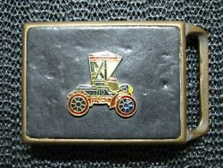 Tech Ether X Colonial Leather Ford Model T Belt Buckle Vintage Rare 1970s