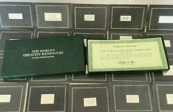 The World's Greatest Banknotes Ingot Collection 21 Counts Franklin Mint, 1983