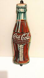 Original Coca Cola Embossed Tin Sign Christmas Bottle 1923 Thermometer Rare