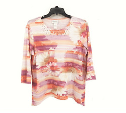 New Sz Large Alfred Dunner Los Cabos 2018 3/4 Sleeve Top