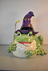 Fitz And Floyd Spell Bound Wizard Frog Cookie Jar Rare
