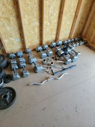 Olympic Weight Set 390lbs Of Pl 7' Bar/ Bars Attachments, Dumbles And Machines