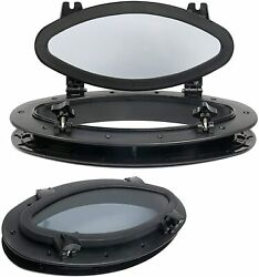 2 Pack Boat Oval Opening Portlight Porthole 16andrdquo X8-5/8andrdquo Replacement Window Black