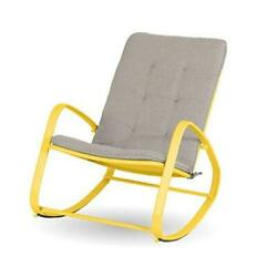 Outdoor Rocking Chairs Patio Metal Rocker Chair With Cushion, Support Yellow