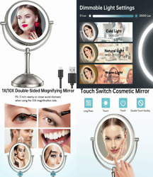 Gospire 8and039and039 Lighted Makeup Mirror With Double Sided 1x/10x Magnification...