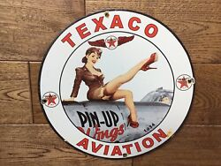 Texaco Aviation Gasoline Porcelain Sign 12andrdquo Gas And Oil Gas Station Sign