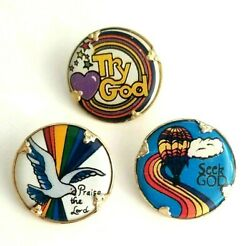 3 Round Religious Pins Praise The Lord Try/seek God Dove Balloon Heart Rainbow
