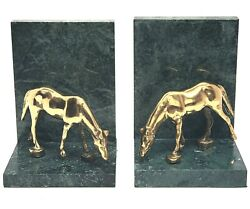 Pair Brass Horse Bookends - Brass Horse Mounted On Green Marble - Set Of 2