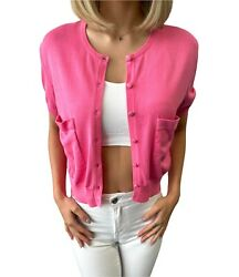 Vintage Coco Mark Cc Button Knit Cardigan Tops Sweaters 42 Pink Pocket