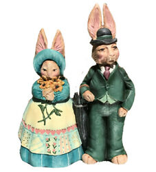Easter Bunny Couple In Their Sunday Best Designed By Jim Shore 5-6 Inch Tall