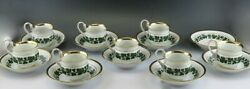 Fantastic 17pc Meissen Full Green Vine Gilt Tea Coffee Cup And Saucer Set