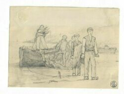 Vintage Drawing Pencils, Boat Drawing, French School Drawing, 19th Century