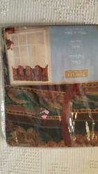 NEW JUBILEE MARCELLA FLORAL TAPESTRY VALANCE 58X16 POCKET ROD CURTAIN MAROON