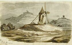 Old Vintage Ink Drawing - Dessin Ancien - Mill - Moulin Du Bourgneuf 1847