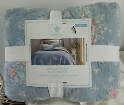 New Simply Shabby Chic French Farmhouse Roses Blue Chambray Lily Rose King Quilt