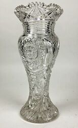Large Antique Abp Cut Glass Vase Attributed To T.b. Clark