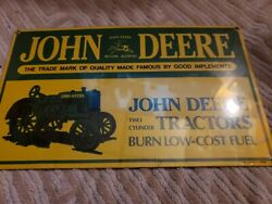 Nos Vintage John Deere Two Cylinder Tractor Metal Sign Ande Rooney 1995 Perfect