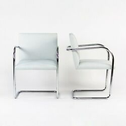 2016 Pair Of Mies Van Der Rohe For Knoll Brno Chairs In Hourglass Gull Fabric