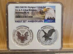 Ngc Pf70 Fr American Eagle 2021 One Oz Silver Reverse Proof Coin Set Designer