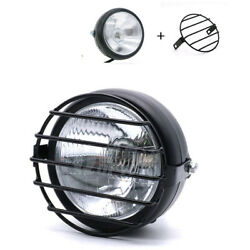 White Glass Retro Motorcycle Bulb Headlight Side Mount Cover + Grill Cafe Racer
