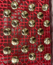 """Lot Of 21 Vintage Round 1 1/4"""" X 1"""" Brass Finish Cabinet Knobs Drawer Pulls"""