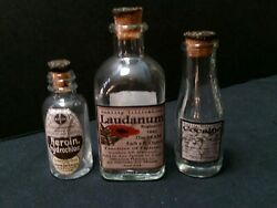 3 Vintage Style Heroin Cocaine And Laudanum Glass Medicine Bottles By Artist