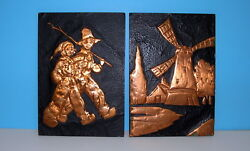 2 Vintage 1949 Copper On Wood Pictures Windmill And Little Dutch Boy And Girl