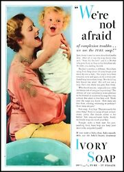 1934 Ivory Soap Mother And Baby Girl Bath Vintage Photo Print Ad Ads5