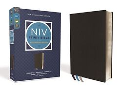 Niv Study Bible Fully Revised Edition Comfort Print-black Genuine Leather