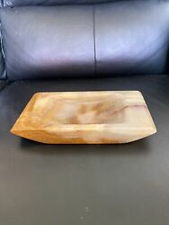 Vintage Large Mexican Onyx Marble Ashtray Or Catchall | Coffee Table Decor