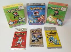 Pokemon Sealed Pack And Themed Deck Lot. 1st Edition Fossil And Base Set 2 Long.