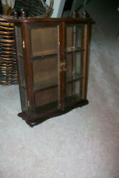 Antique Wall wood and glass curio display case cabinet