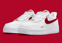 Nike Womenand039s Air Force 1 And03907 Ess Shoes White Gym Red Gold Cz0270-104 New