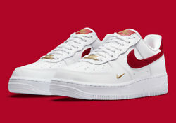Nike Women's Air Force 1 '07 Ess Shoes White Gym Red Gold Cz0270-104 New