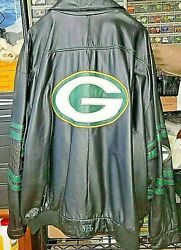 Vintage Leather Green Bay Packers Official Nfl Jacket Men's Size 5x From Mid 90s