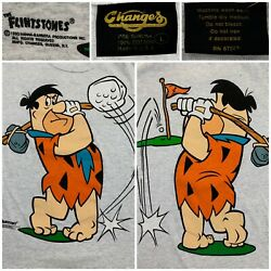 Vintage The Flinstones Fred Playing Golf 1993 T-shirt Men's Sz Large White Gray