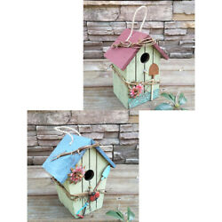 2pcs Rustic Hanging Wood Bird House, Retro Arts And Crafts Country Cottages Bird