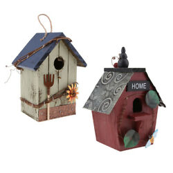 2 Pieces Country Cottages Wood Bird House Hanging Birdhouse Condo Garden