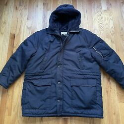 Menand039s Vintage 80and039s Sears Work Leisure Fur Lined Parka Chore Work Jacket Sz 2xl