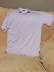 Mens Callaway Opti Dri Golf Shirts Large Pink White Striped Excellent Condition