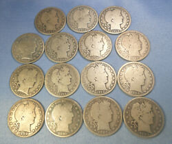 New Buy 15 Different Dates Silver Barber Halves From Collection - Cheap
