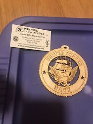 Christmas Ornament Wood Handmade Us Navy Naval Academy Laser Engraved New Round