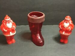 Vtg-lot Of 3 Red Plastic 2 Santas 1 Boot Ornament Candy Holder Figurines
